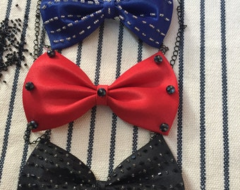 Red Bow Tie Necklace/ Navy Bow Tie Necklace/ Black Bow Tie Necklace/ Modern Necklace