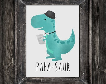 Papa-saur Digital 8x10 Printable Poster Funny Dinosaur Dad Dino Daddy Father Dinosaurs Papa Happy Father's Day Card Pops Poppa Illustration