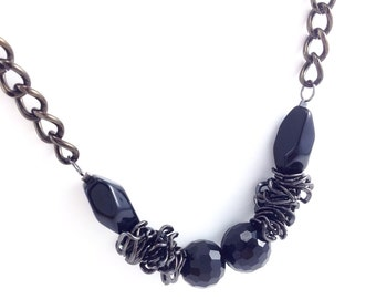 Faceted Beaded Chain Necklace