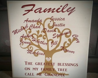 Family Tree Board Sign 16×16 ! Personalized!