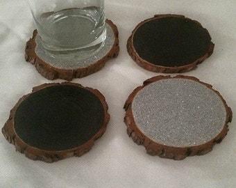RUSTIC WOOD COASTERS: Glittered Silver + Chalkboard Surface