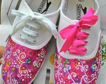 Floral canvas shoes, Purple canvas shoes, hand painted shoes, Custom shoes, Womens shoes, Custom sneakers, Womens sneakers, Painted shoes
