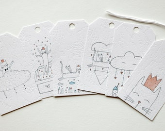 Majestic Flying Cat Gift Tags (set of 6)