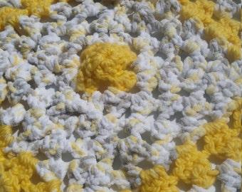 Sun Shiny Day! hand crochet baby/toddler granny square ,yellow ,white ,flower
