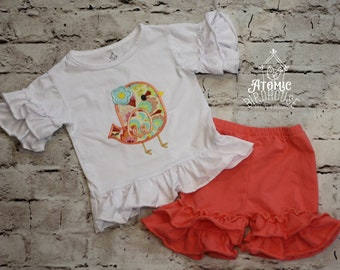 CLEARANCE - Boutique Ruffle Short Set with Bird Applique size 12 months - Toddler Ruffle Shorts - Girls Summer Clothes - READY to SHIP