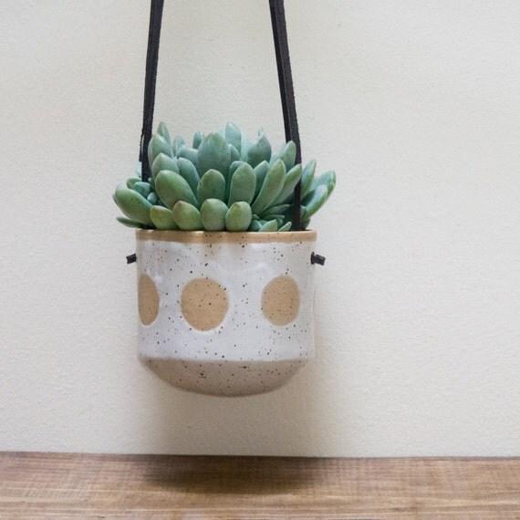 Handmade Ceramic Hanging Wall Planter For Succulents Indoor