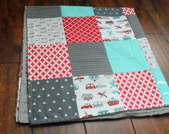 Cars & Transportation Patchwork Minky Blanket-- Red, Aqua, Gray, White-- Gender Neutral, Baby Boy. Cars, Planes, Boat