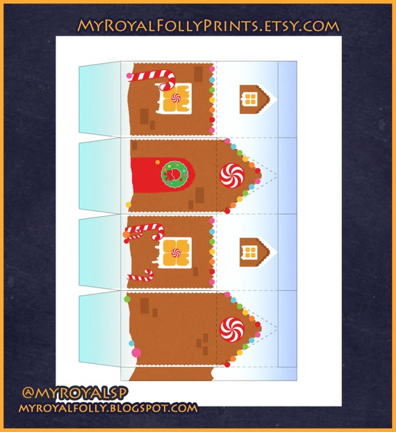 DIY Gingerbread printable treat gift candy box