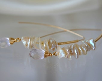 Amethyst keshi ruffle Pearl Earrings gold filled keshi pearls earrings