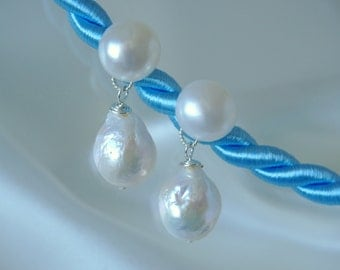 Baroque wrinkle pearls like kasumi freshwater pearls earrings Baroque pearls wrinkles kasumi like freshwater pearl earrings