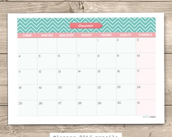 2016 A4 Monthly Planner Printable ITA | Pink & Lightblue | INSTANT DOWNLOAD