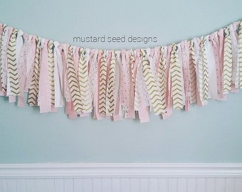 Pink and Gold Garland, Nursery Decor - Party Decor - Home Decor - Photo Prop - Baby Shower Decor