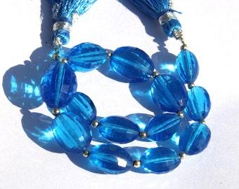 "8"" Long 14 pcs 9x10-11x15 mm Swiss Blue Quartz Chakker Cut Barrel Beads, Semiprecious Beads BR41"