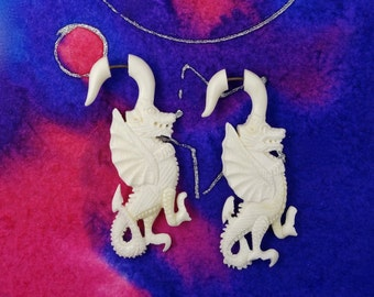 Tribal Dragons Fake Gauges Earrings - Recycled Bone - Free Shipping