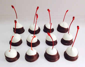 Double Dipped Cherries, Chocolate Dipped Cherries, Maraschino Cherries, Chocolate Covered Cherries, Dipped Fruit, Valentine's Day Gift