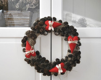 Hand Made Wreath decorated with hand-sewn red hearts