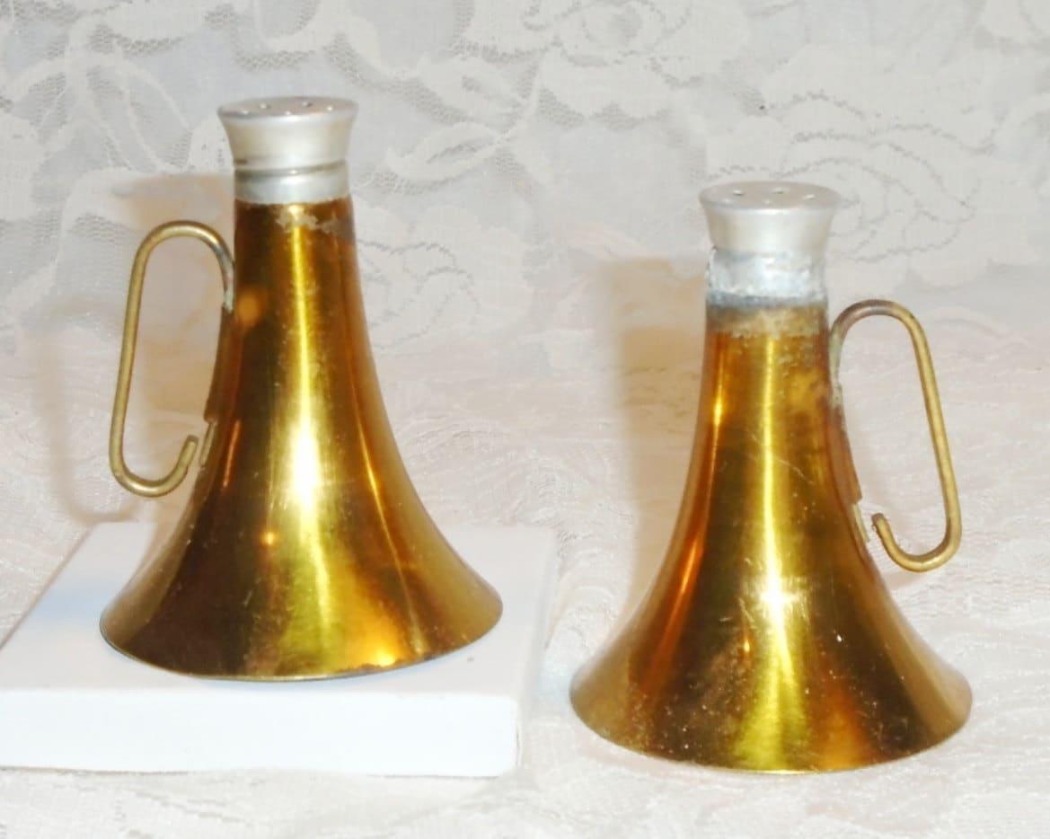 Vintage Brass Horn Salt Pepper Shakers Unique Trumpet Glass