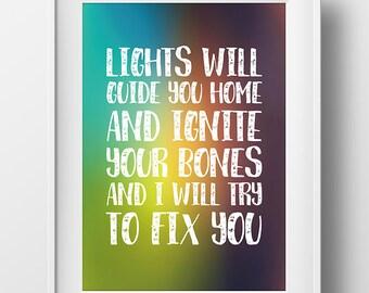 "Coldplay ""Fix You"" Lyric Art Print"