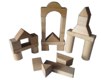 24 pieces - 9 forms different wooden building blocks