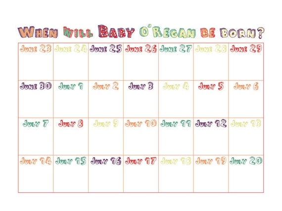 personalised baby shower calendar digital file