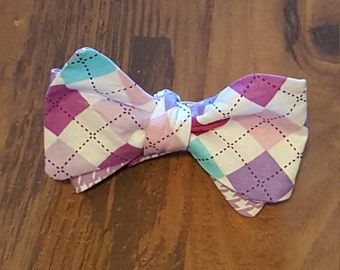 Purple Houndstooth Reversible Bow Tie