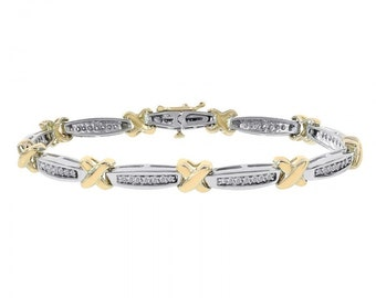 1.00 Carat Diamond X-Shaped Link 14K Two Tone Gold Bracelet