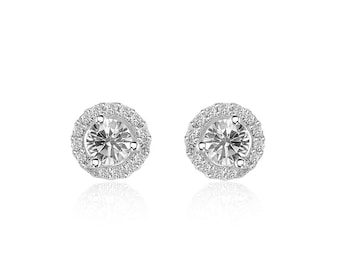 0.45 Carat Diamond Halo Stud Earrings 14K White Gold