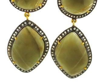 Emerald Earrings--Green Quartz Earrings--Green Gemstone Earrings