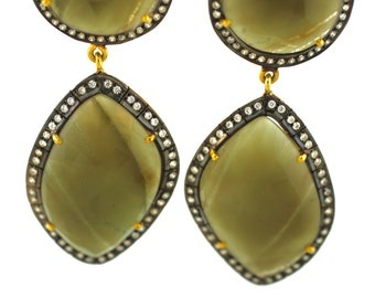 Emerald Quartz Gemstone Earrings