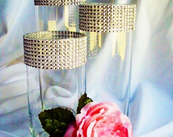 Set of 3 Silver Rhinestone Wrap Glass Cylinder Vases, Wedding or Special Event.