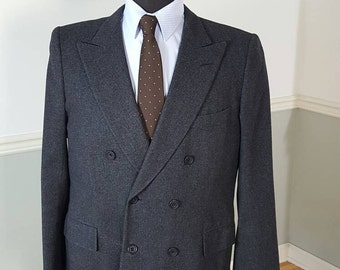 Vintage Tommy Nutter Saville Row Charcoal Gray Men's Double Breasted Sport Coat Jacket Blazer Working Cuffs Canvassed 42S 42 Short