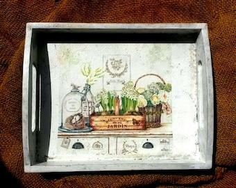 Rustic wooden tray, serving tray, retirement gift, decoupage tray, handmade tray, decorative tray, shabby chic, boho tray, retro look tray