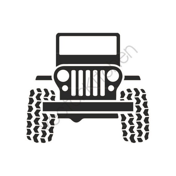 jeep 4x4 grill 4 wheeling cutting template svg eps silhouette