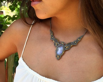 Moonstone Macrame necklace with brass beads  TRIBAL gipsy jewelry ethnic boho grey lovers