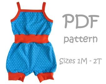 Miri Romper shorts PDF pattern - baby sewing pattern, baby pdf pattern, newborn pdf, baby patterns