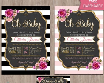 oh baby shower invitation, oh baby invitation, oh baby baby shower invitation, Baby Shower girl, printable, baby shower digital invitation