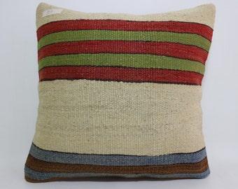 16x16 multicolour Pillow natural pillow throw pillow Turkish kilim pillow striped pillow  decorative pillow floor pillow SP4040-819