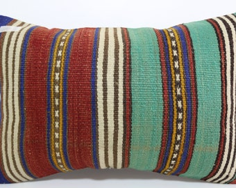 "Multicolour Pillow Turkish Striped Kilim Pillow 16""x24"" boho lumbar kilim pillow Striped Pillow Cushion case Antique Pillow SP4060-255"