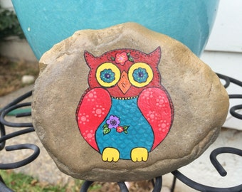 Hand painted colorful owl
