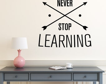 Never Stop Learning | Quotes Words Inspirational Motivational Goals Life Office Gym Café | Removable Vinyl Wall Sticker