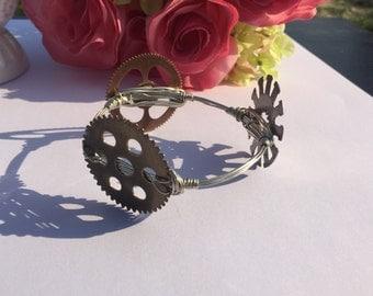 Steampunk Style Gears Wire Wrapped Bangle Bracelet