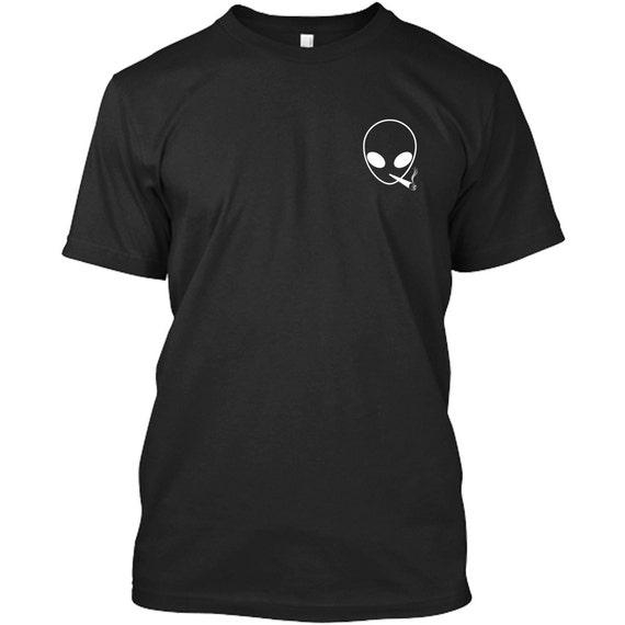 Alien head smoking a joint t shirt premium quality aliens ufo