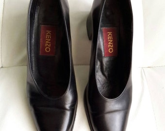 KENZO Real Leather Black Pumps