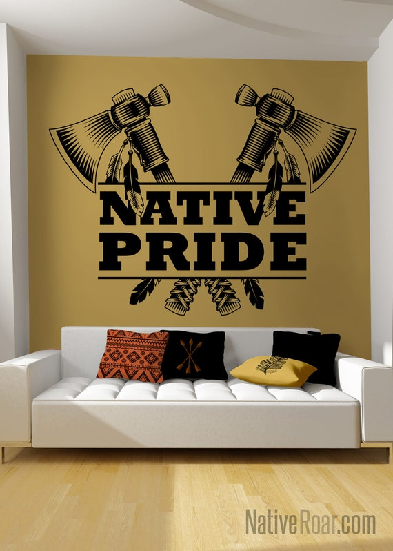 Native pride tomahawk axe wall decal native american decor for American indian decoration