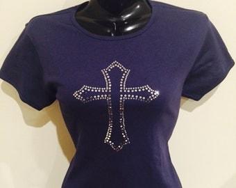 Ladies Sequin Cross Tee