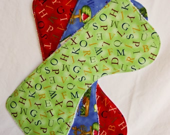 Set of 3 Contoured Alphabet Baby Burp Cloths, Terry Cloth Backing, Perfect Gift for a Baby Shower