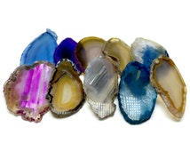 10 Agate Slices Small Jewelry Sized Coloured Geode Polished Slabs Brazil Agate Slice Random Selection Mix Colours FREE USA SHIPPING!