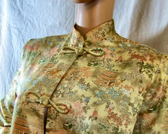 1960'S Helene Scott Maternity Cheongsam Style Top, Helene Scott, Top, Satin, Cheongsam, Asian, Maternity, 1960's, Designer, Mandarin Collar