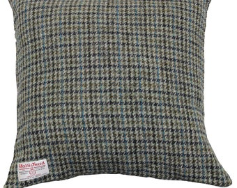 Harris Tweed Wool Cushion Cover Square Olive Houdstooth Dogtooth Woven Button Fastening Size 45x45cm, 17x17inc Approximate