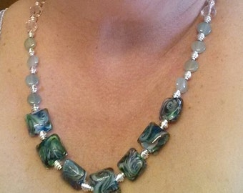 Green multi color necklace and bracelet